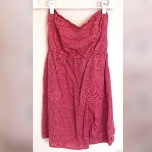 Volcom Strapless Coral And Purple Wrap Dress Med